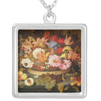 Still Life of Fruit and a Basket of Flowers Silver Plated Necklace