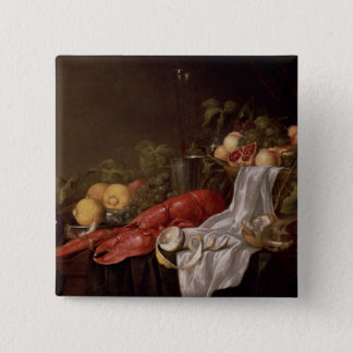 Still life of fruit and a lobster 15 cm square badge