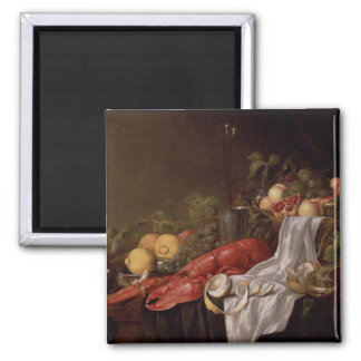 Still life of fruit and a lobster magnet