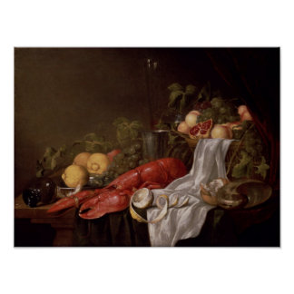Still life of fruit and a lobster poster