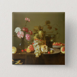 Still Life of Fruit and Flowers 15 Cm Square Badge