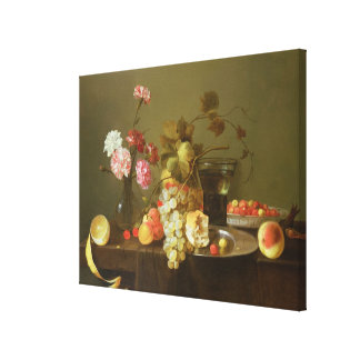Still Life of Fruit and Flowers Gallery Wrapped Canvas