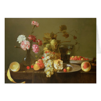 Still Life of Fruit and Flowers Greeting Card