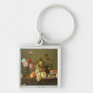 Still Life of Fruit and Flowers Keychains