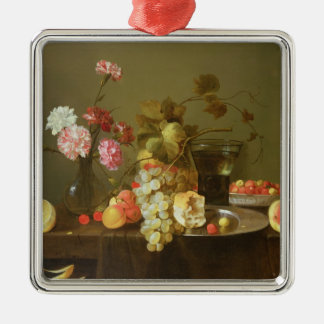 Still Life of Fruit and Flowers Silver-Colored Square Decoration