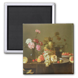 Still Life of Fruit and Flowers Square Magnet