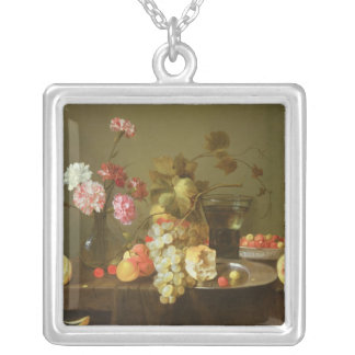 Still Life of Fruit and Flowers Square Pendant Necklace