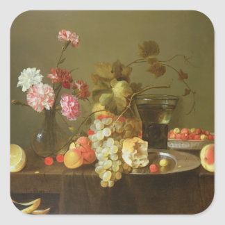 Still Life of Fruit and Flowers Square Sticker