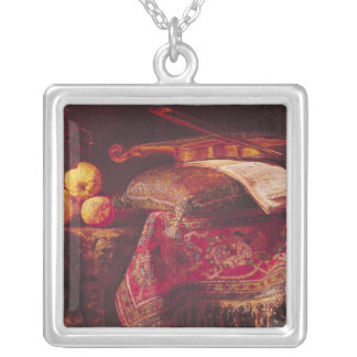 Still Life of Fruit and Musical Instruments Silver Plated Necklace