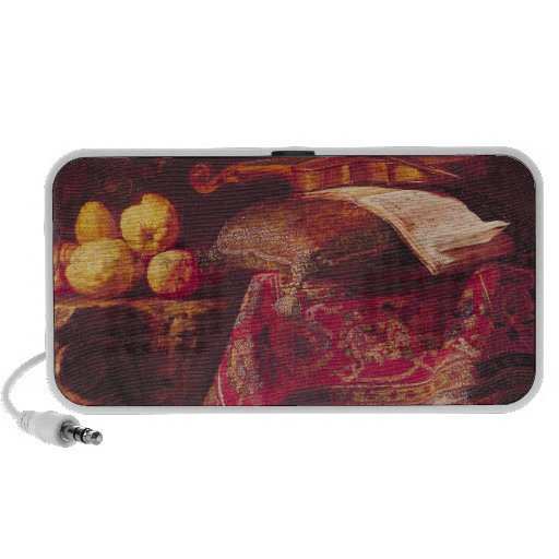 Still Life of Fruit and Musical Instruments Portable Speakers