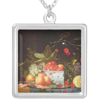 Still Life of Fruit Silver Plated Necklace