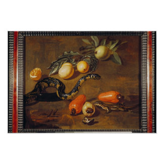 Still Life of Fruits from Surinam and Reptiles Poster