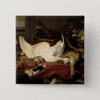 Still Life of Game and Shellfish 15 Cm Square Badge