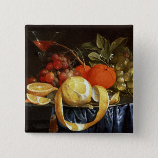 Still Life of Grapes, Oranges and a Peeled Lemon 15 Cm Square Badge