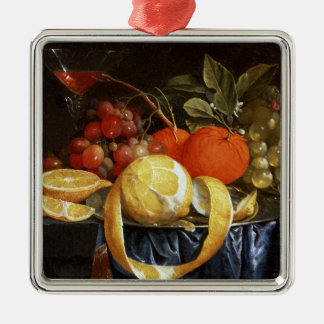 Still Life of Grapes, Oranges and a Peeled Lemon Christmas Ornament