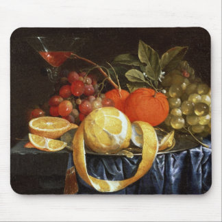 Still Life of Grapes, Oranges and a Peeled Lemon Mouse Mat