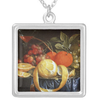 Still Life of Grapes, Oranges and a Peeled Lemon Silver Plated Necklace