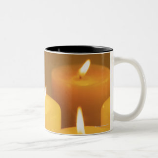 Still life of lighted candles Two-Tone coffee mug