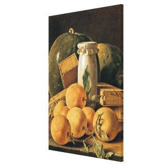 Still Life of Oranges, Watermelon Canvas Print