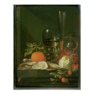 Still Life of Oysters, Grapes, Bread Poster