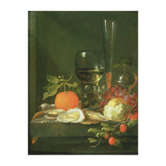 Still Life of Oysters, Grapes, Bread Stretched Canvas Print