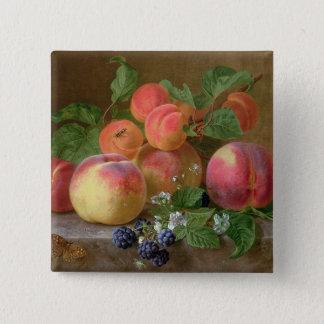 Still Life of Peaches 15 Cm Square Badge