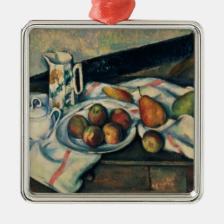 Still Life of Peaches and Pears, 1888-90 Silver-Colored Square Decoration