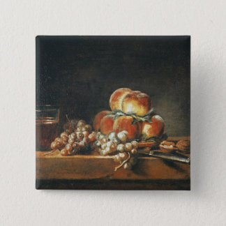 Still Life of Peaches, Nuts, Grapes 15 Cm Square Badge