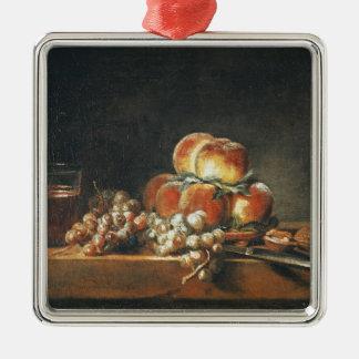 Still Life of Peaches, Nuts, Grapes Silver-Colored Square Decoration