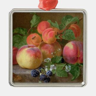 Still Life of Peaches Silver-Colored Square Decoration