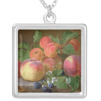 Still Life of Peaches Silver Plated Necklace