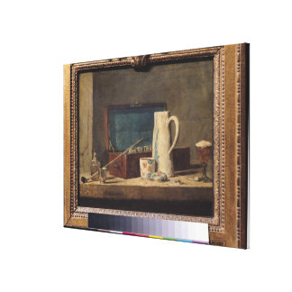 Still Life of Pipes and a Drinking Glass Canvas Print