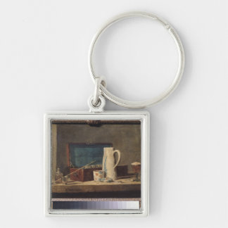 Still Life of Pipes and a Drinking Glass Silver-Colored Square Key Ring