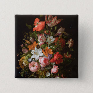 Still life of roses  lilies, tulips 15 cm square badge