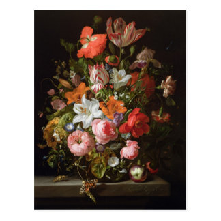 Still life of roses  lilies, tulips postcard