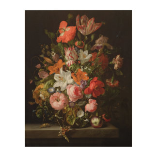 Still life of roses  lilies, tulips wood wall art