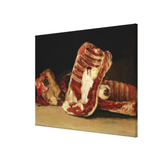 Still life of Sheep's Ribs and Head Canvas Print