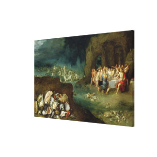 Still life of shells with the Feast of the Gods Stretched Canvas Print