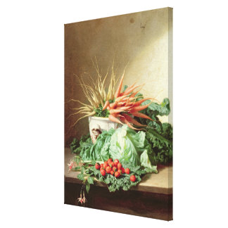 Still Life of Strawberries, Carrots and Cabbage Canvas Print