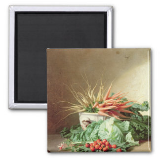 Still Life of Strawberries, Carrots and Cabbage Magnet