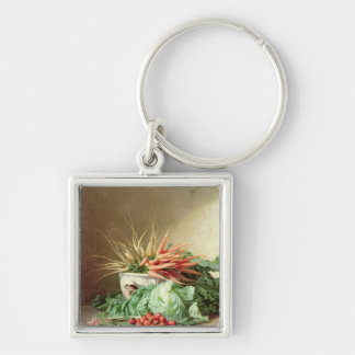Still Life of Strawberries, Carrots and Cabbage Silver-Colored Square Key Ring