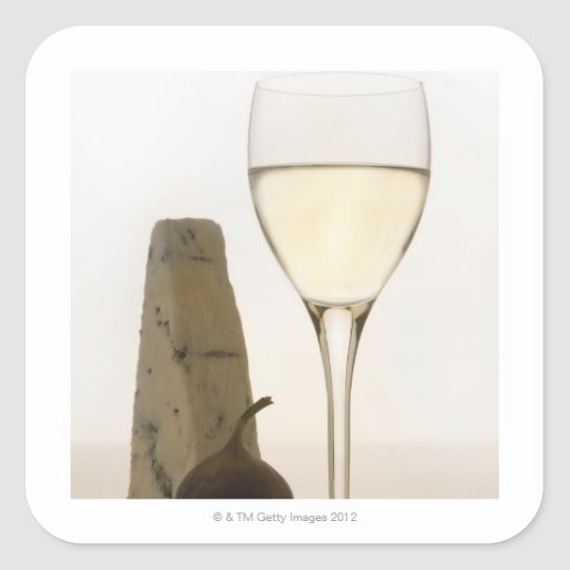 Still life of wine, cheese and fig square sticker