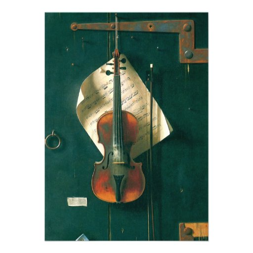 Still Life Old Violin, Harnett, Vintage Victorian Personalized Announcements