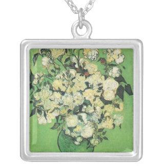Still life - Pink Roses in a Vase, Vincent van Gog Silver Plated Necklace
