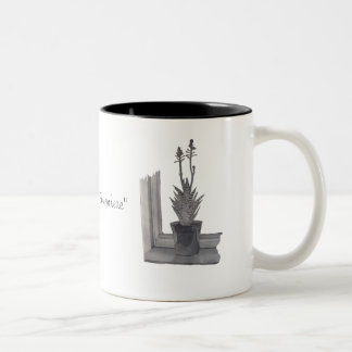 Still life pot plant realist art scetch china mug