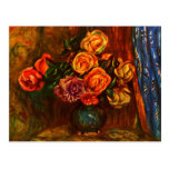 Still life roses before a blue curtain by Renoir Post Cards