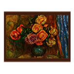 Still Life Roses In Front Of Blue Curtains Postcards