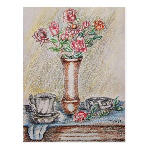 still life roses postcard