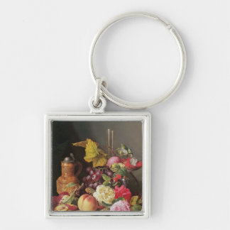 Still Life Silver-Colored Square Key Ring