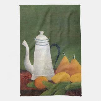 Still Life Teapot & Fruit by Henri Rousseau Tea Towel